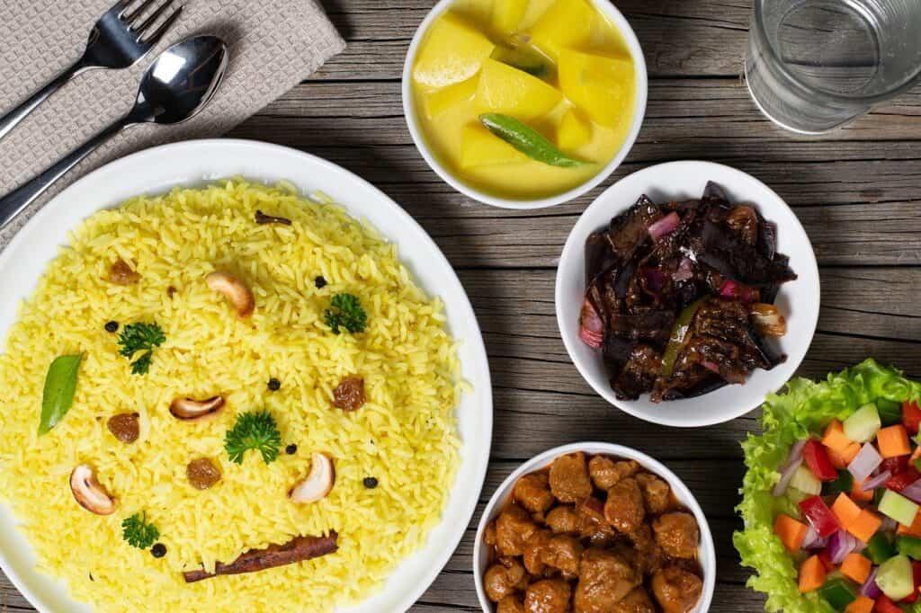 rice, meal, dish
