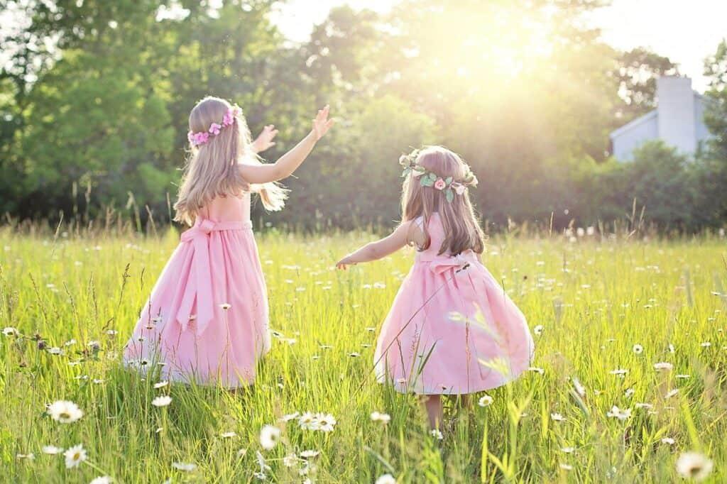 summer, little girls, children